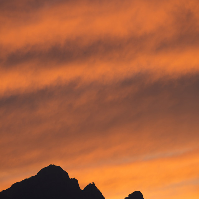 """Sunset Clouds over Mount Rundle, Banff"" stock image"