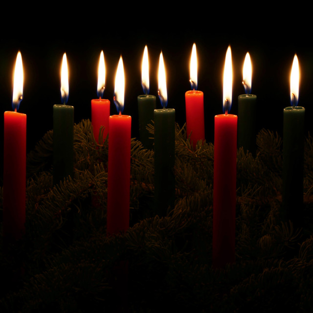 """Red and Green Christmas Candles"" stock image"