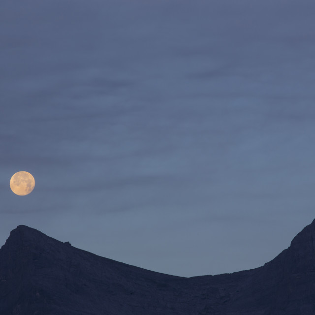 """Full Moon above Mountain Ridge"" stock image"