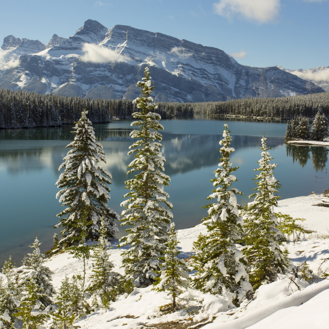 """Two Jack Lake, Banff National Park"" stock image"
