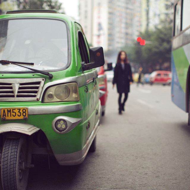 """Three-Wheeled Taxis"" stock image"