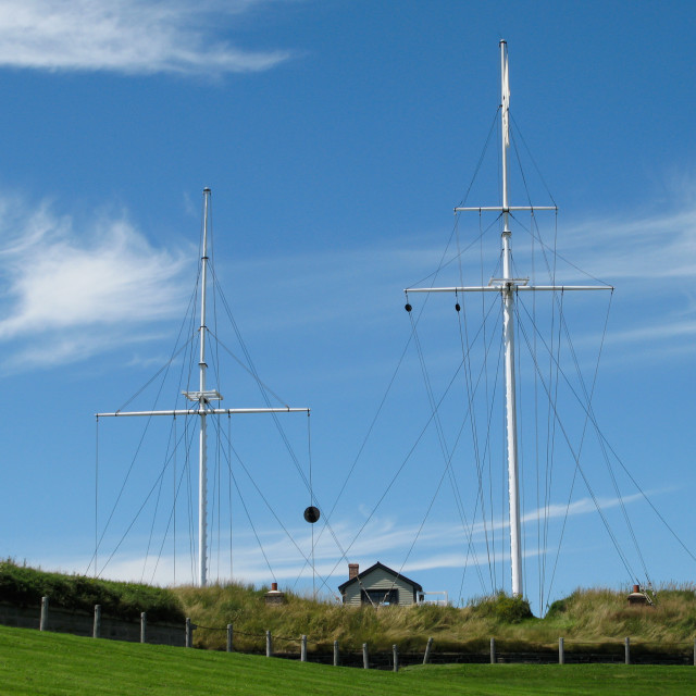 """""""Two empty Ships Masts"""" stock image"""