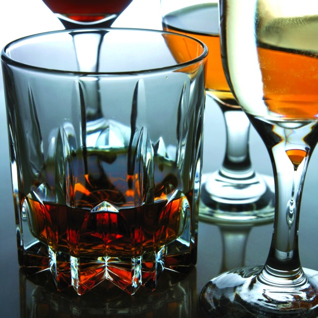 """""""Different Alcoholic Drinks in glass and goblets"""" stock image"""