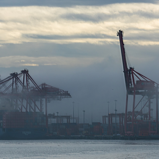 """Foggy morning Vancouver Harbour"" stock image"