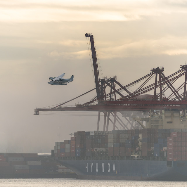 """Vancouver Container port and Seaplane"" stock image"