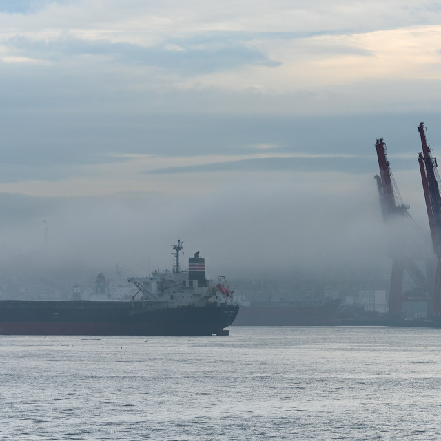 """Ship at anchor in Vancouver Harbour"" stock image"