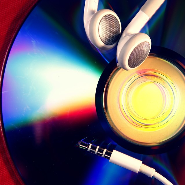 """""""compact disc and ear piece"""" stock image"""