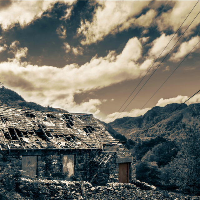 """The Old Cottage In The Mountains"" stock image"