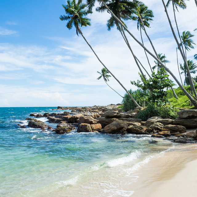 """Tropical rocky beach"" stock image"