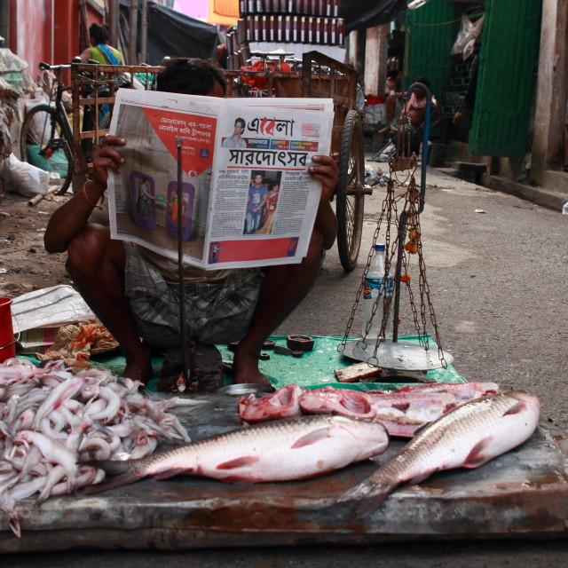 """Street fish monger"" stock image"