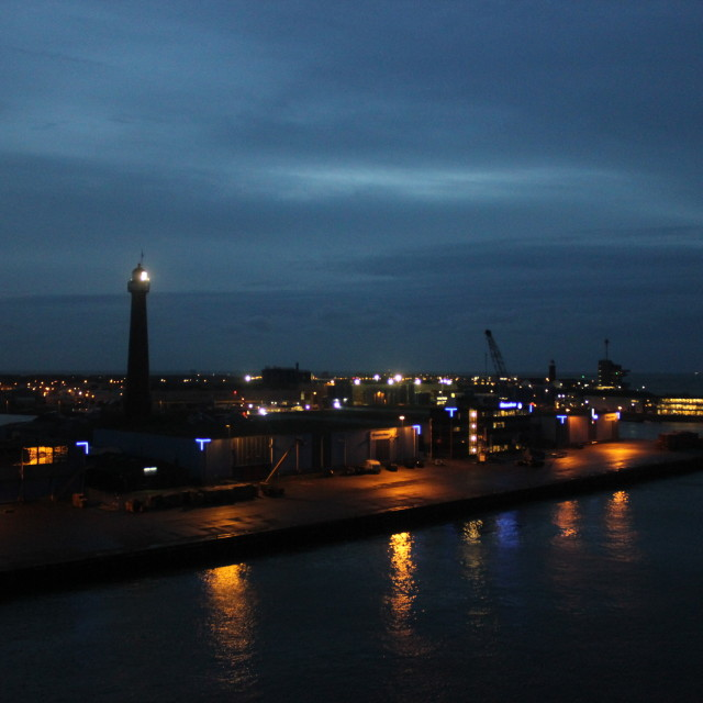"""IJmuiden Harbour at night"" stock image"