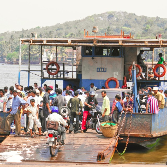"""Crossing the river Mandovi"" stock image"
