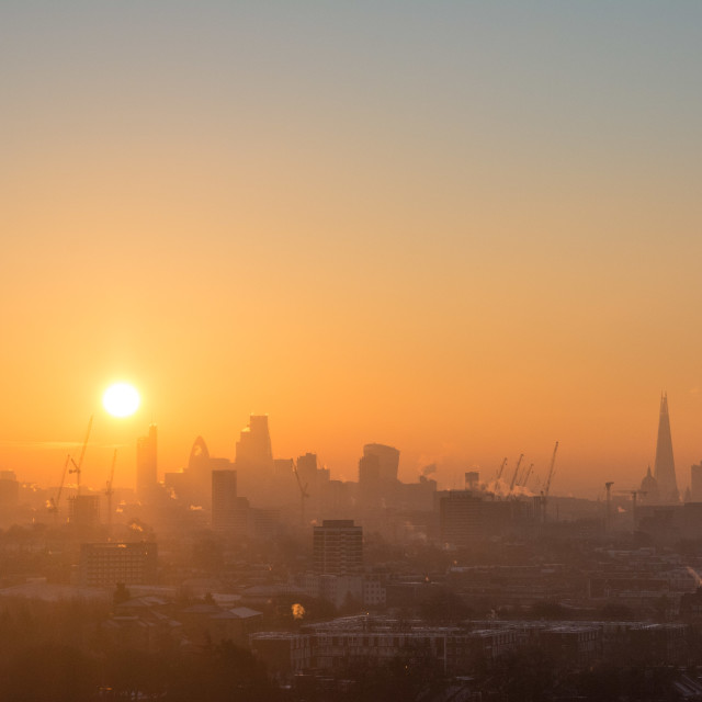 """Winter sunrise from Parliament Hill, London"" stock image"