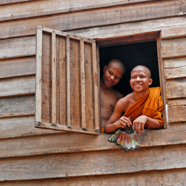 """MONKS AT THE WINDOW"" stock image"