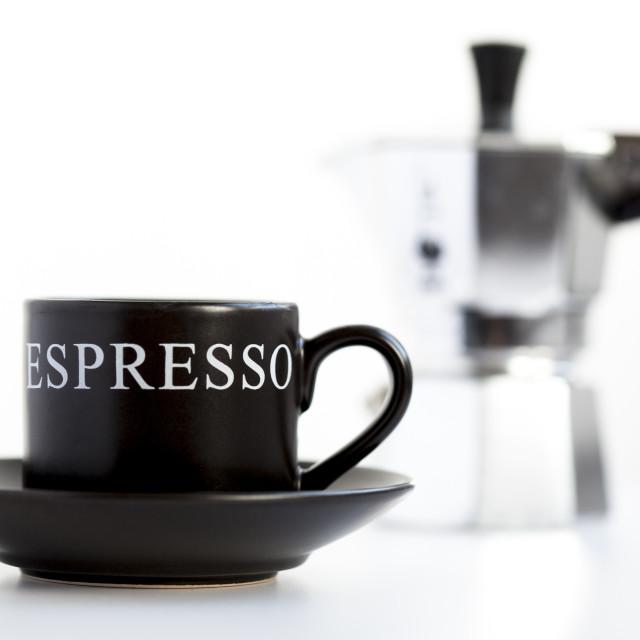 """Coffee cup and Moka express"" stock image"