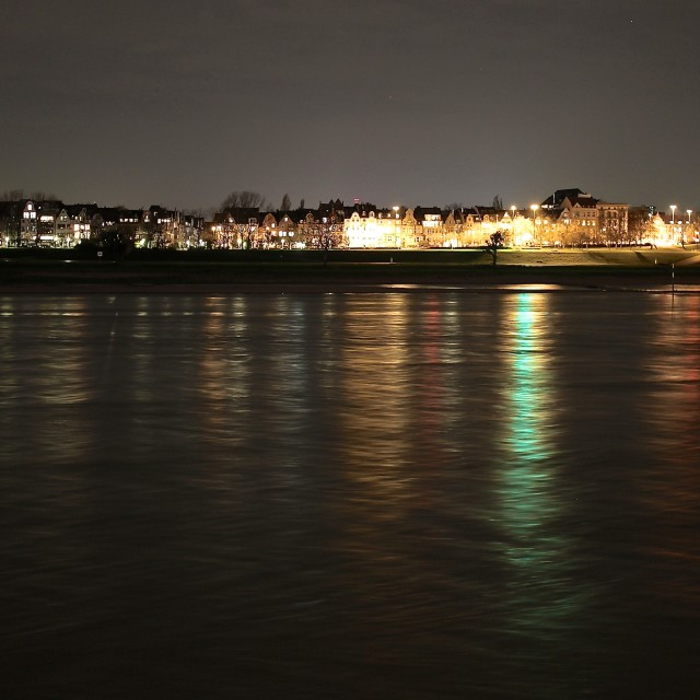 """Nighttime Rhein Reflections"" stock image"