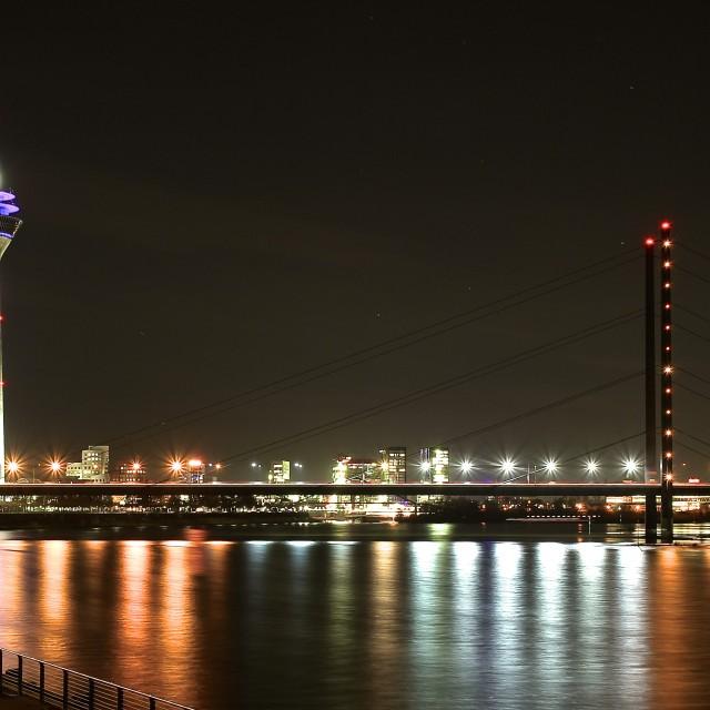 """Nighttime Düsseldorf"" stock image"