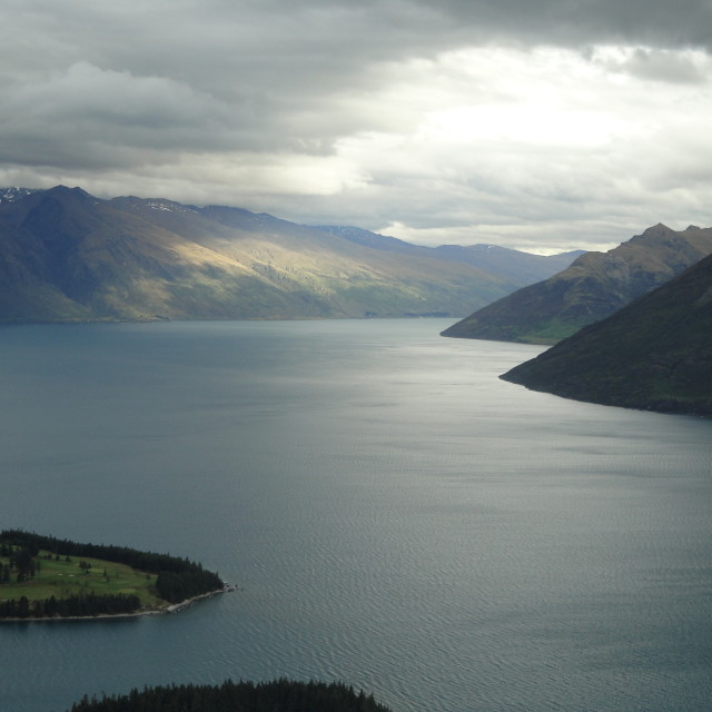 """Sunset Lake Wakatipu"" stock image"