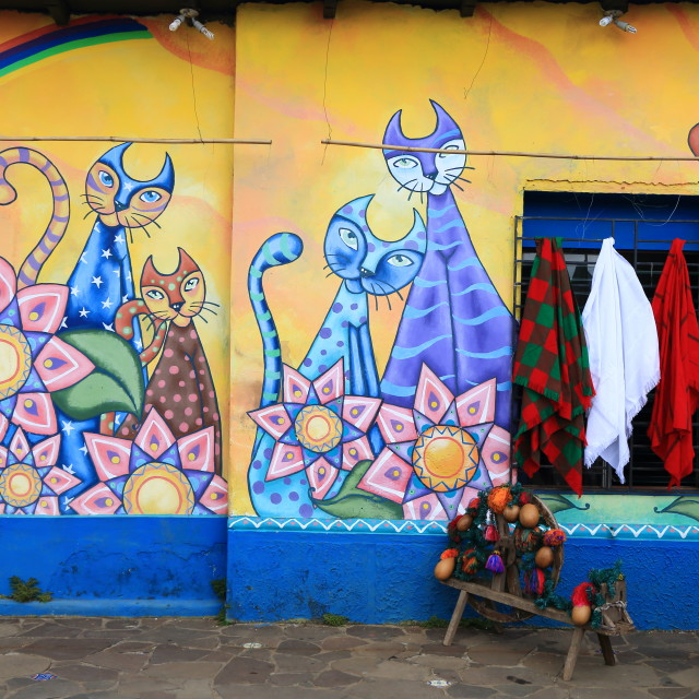 """Brightly coloured mural, Ataco, El Salvador"" stock image"
