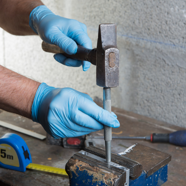 """""""handyman with a hammer"""" stock image"""