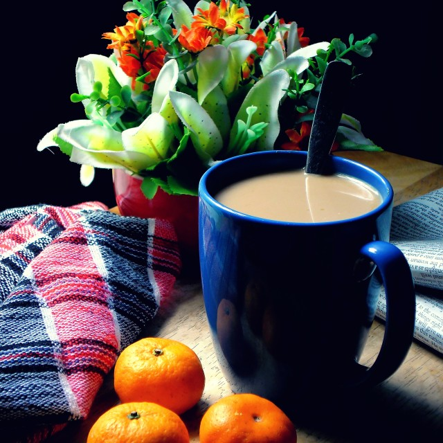"""coffee in a mug and small oranges"" stock image"