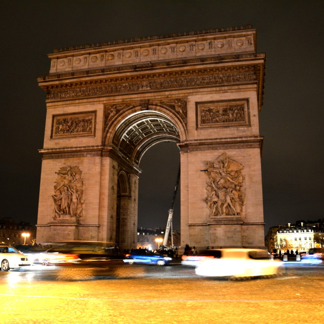 """Arc de Triomphe by night"" stock image"