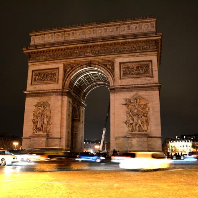 """Arc de Triomphe by night"" stock image"