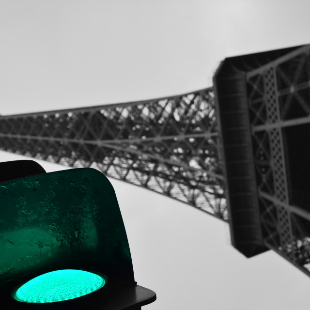 """Eiffel tower and traffic lights"" stock image"
