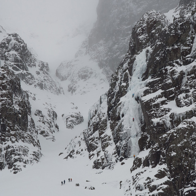 """Ben Nevis winter climbing."" stock image"
