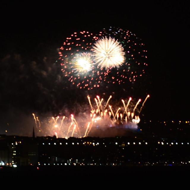 """New Year Fireworks 2015 in Edinburgh, Scotland"" stock image"