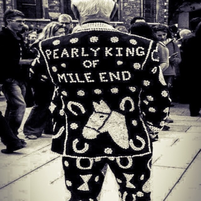 """Pearly King in Black and White"" stock image"