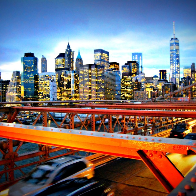 """Manhattan Island from the Brooklyn Bridge"" stock image"