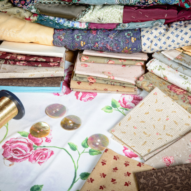 """various piece of fabric to make a quilt"" stock image"