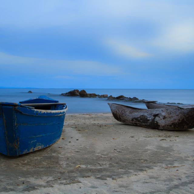 """""""Fishing Village at Dusk"""" stock image"""