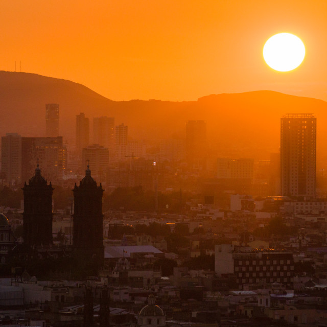 """Sunset over the city"" stock image"