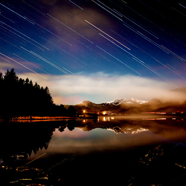 """Stars over Snowdonia"" stock image"