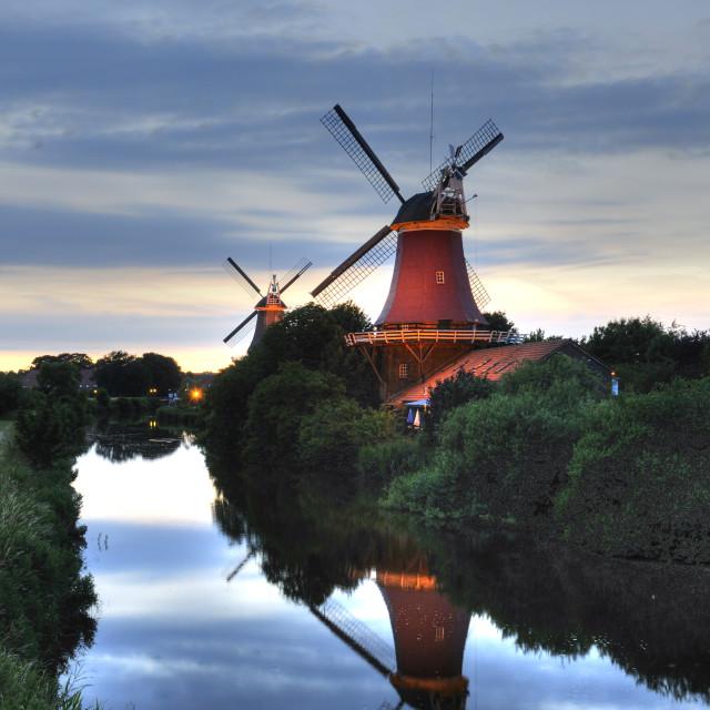 """Windmills in Greetsiel"" stock image"