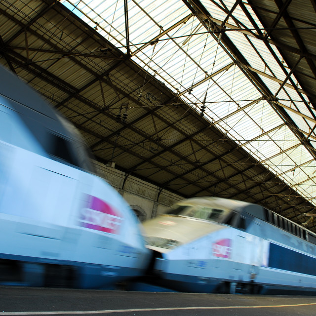 """""""Train and wagons crossing a railway station"""" stock image"""