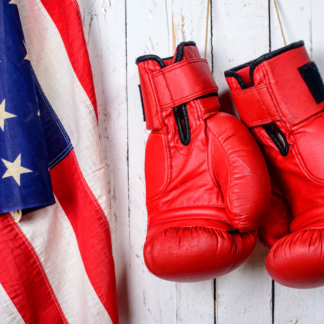 """red boxing gloves with an American flag"" stock image"