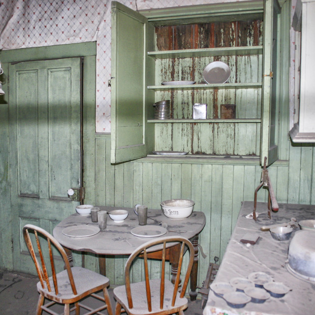 """The kitchen in the Miller House in the ghost town of Bodie, Cali"" stock image"