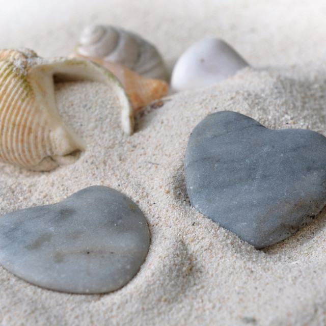 """heart shaped pebbles"" stock image"