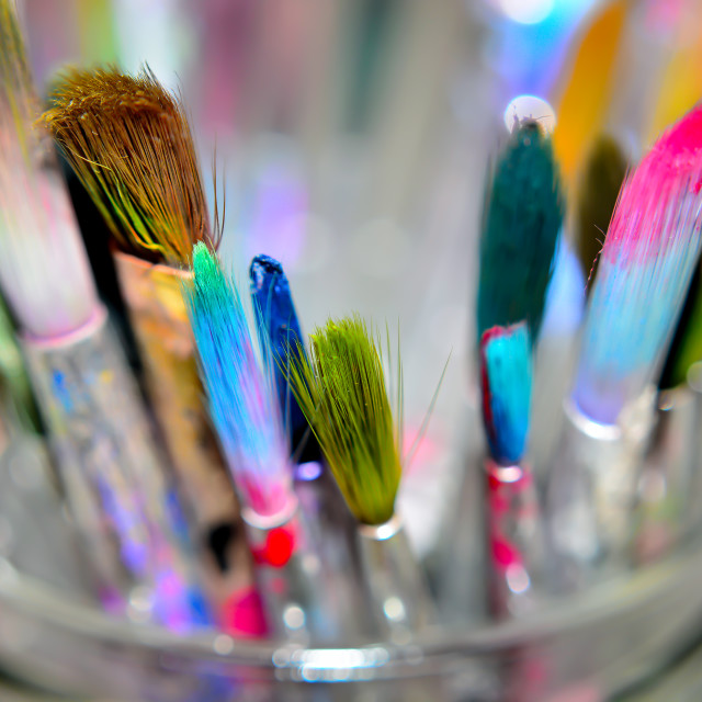 """Pot of paint brushes"" stock image"