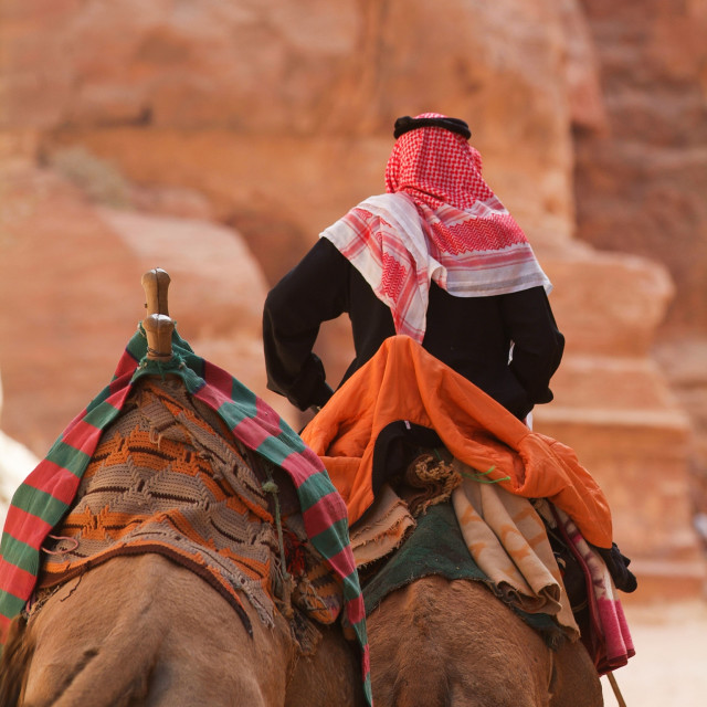 """Petra monastery-Bedouin and Camels"" stock image"