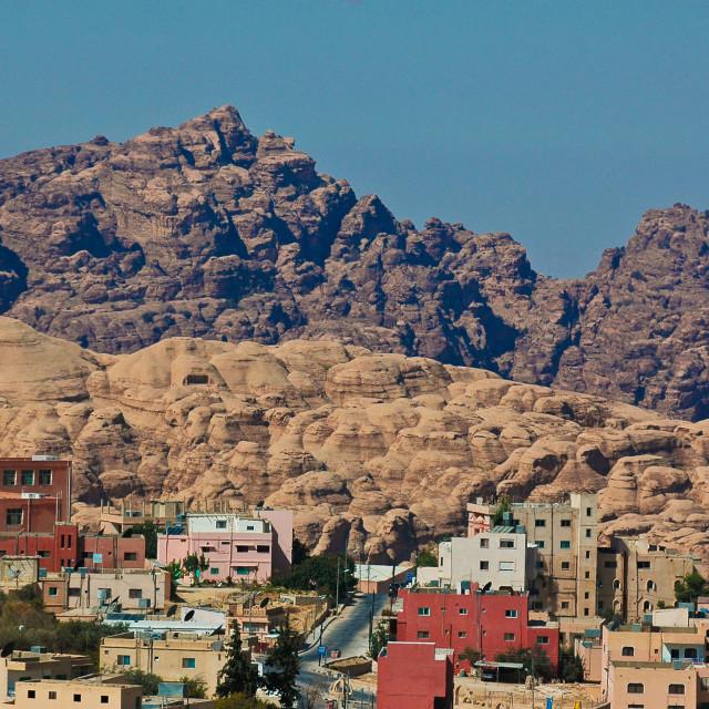 """""""Jordanian village to Petra"""" stock image"""
