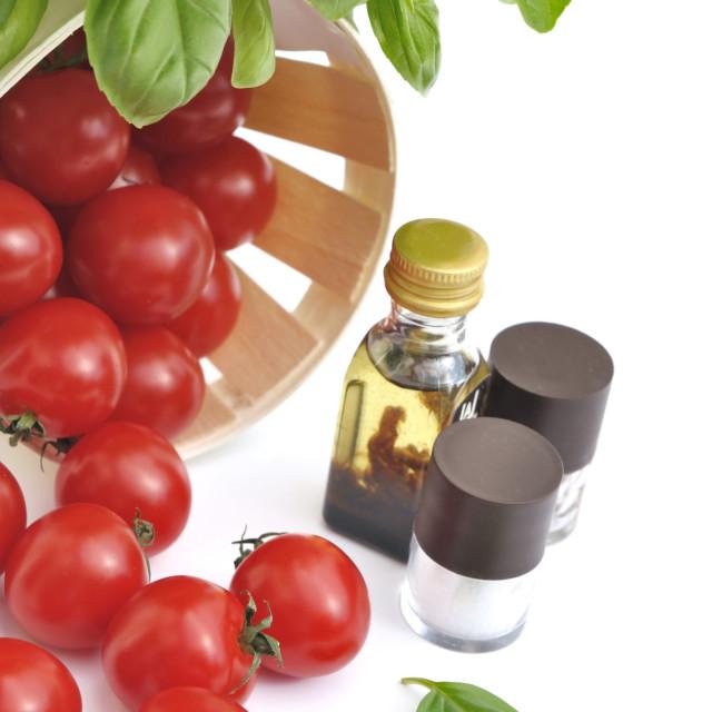 """""""cherry tomatoes and seasoning"""" stock image"""