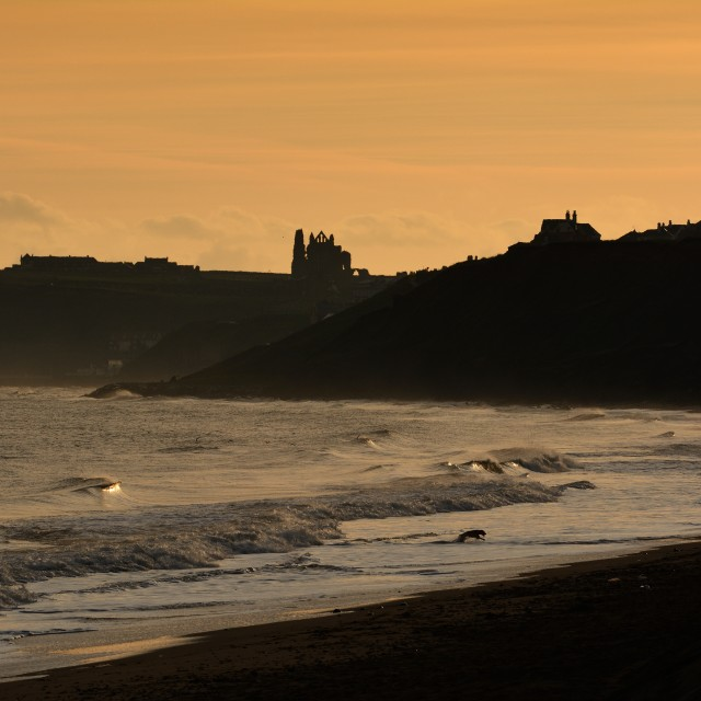 """Sandsend Bay sunrise"" stock image"