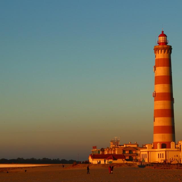 """sunset at praia da Barra, Aveiro"" stock image"