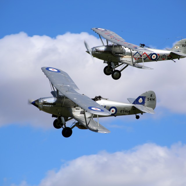 """Hawker Hind and Demon flying together"" stock image"