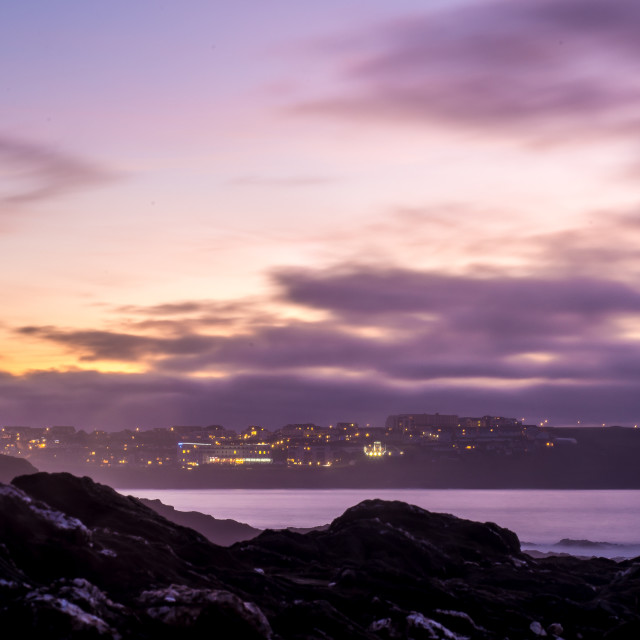 """Pentire at Night"" stock image"