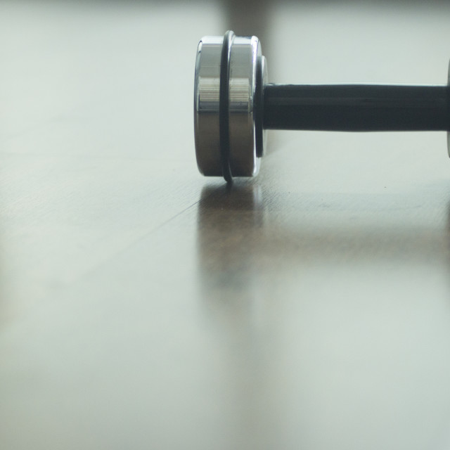 """Dumbbell gym metal weights in gym health club"" stock image"